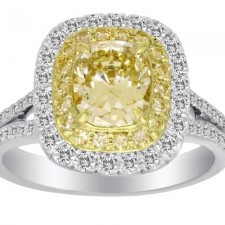 Fancy Yellow Cushion Ring
