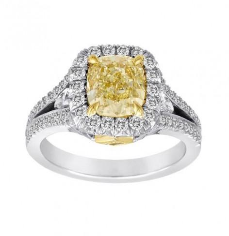 Fancy Yellow 1.73Ct Cushion Ring