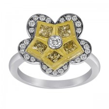 Flower Ring With Yellow Diamonds