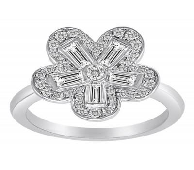 Fower Ring With Baguette Cut Diamonds From Our Garden Collection