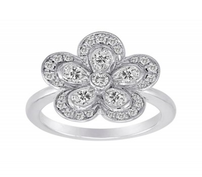 Flower Ring With Pear Shaped Diamonds From Our Garden Collection