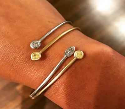 Wire Bracelet with Fancy Diamonds